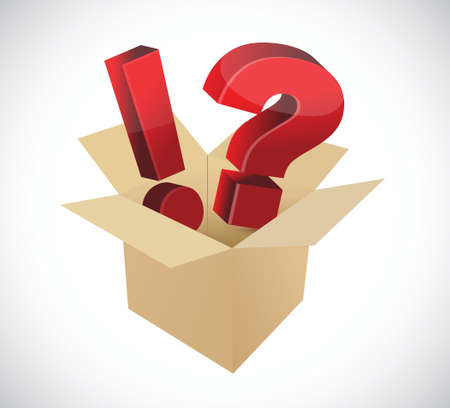 inquiry: exclamation and question marks inside a box. illustration design over a white background Illustration
