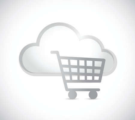 wireless communication: cloud computing and shopping cart illustration design over a white background
