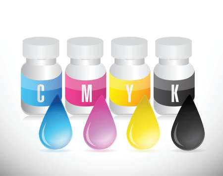 cmyk ink jars illustration design over a white background Stock Vector - 25700749