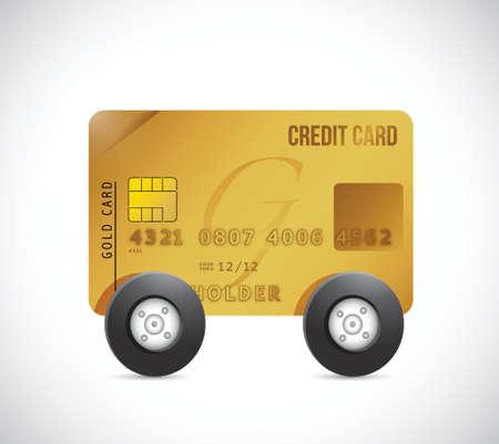 바퀴에 신용 카트. 흰색 배경 위에 그림 디자인 일러스트