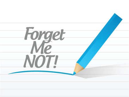 typology: forget me not message illustration design over a white background Illustration
