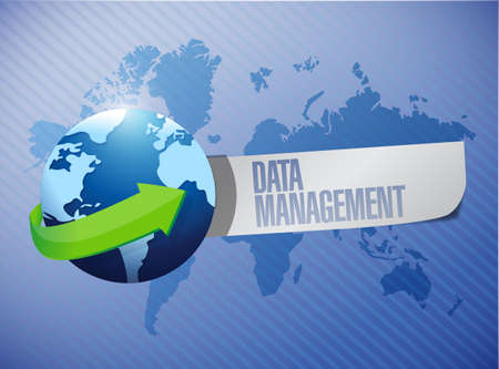 data management message world map illustration design over a blue background illustration
