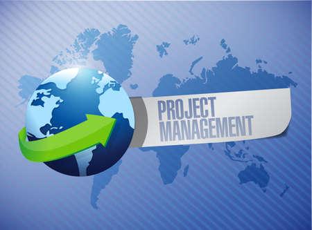 online privacy: project management message world map illustration design over a blue background