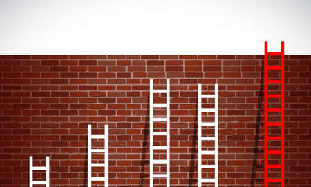 professionalism: set of ladders and brick wall. illustration design graphic