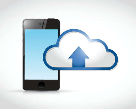 phone cloud transfer connection illustration design over a white background