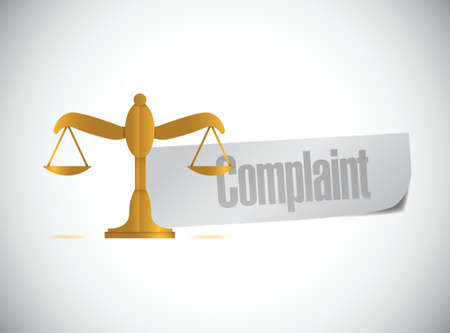 complain: complaint balance sign illustration design over a white background