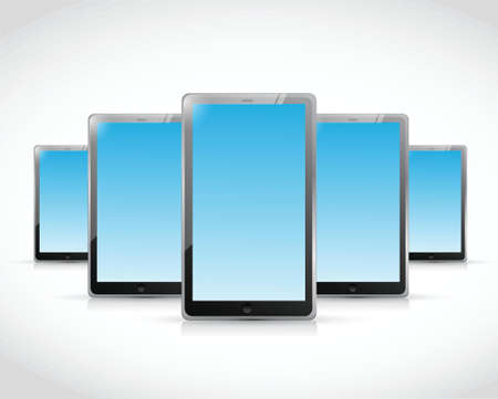 set of tablets illustration design over a white background Stock Vector - 26136103