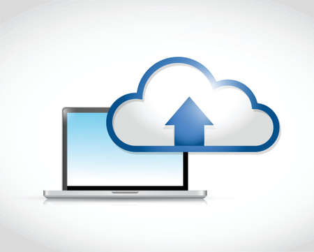 laptop computer cloud transfer connection illustration design over a white background