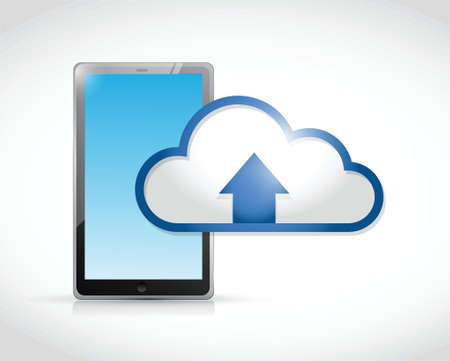 tablet cloud transfer connection illustration design over a white background Vector