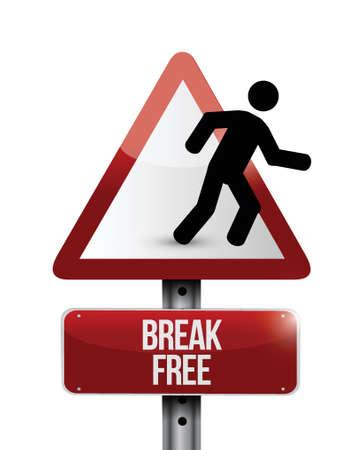 break free sign illustration design over a white background