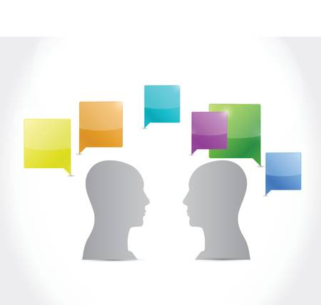 medium group of people: talking people. illustration design over a white background