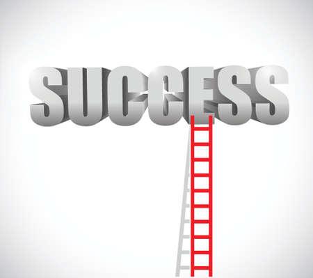 ascend: ladder to success illustration design over a white background Illustration