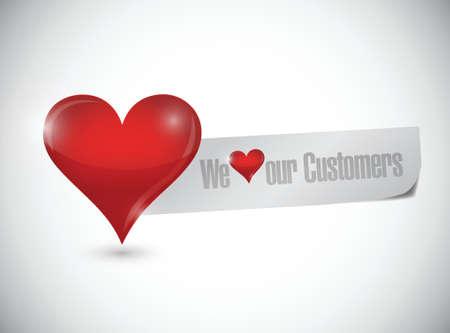 우리는 우리의 고객은 흰색 배경 위에 그림 디자인에 서명 사랑 일러스트