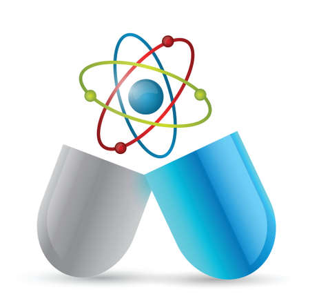 med: medicine atom pill illustration design over a white background Illustration