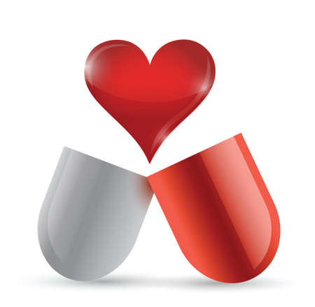 love pills illustration design over a white background