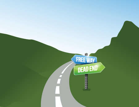 trouble free: free way and dead end options. illustration design over a white background