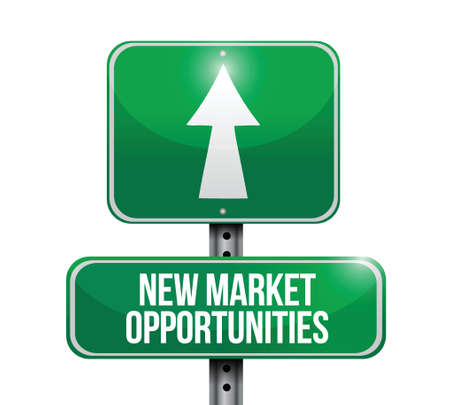 opportunity sign: new market opportunities sign illustration design over a white background Illustration