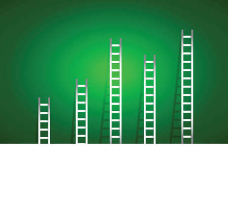 set of ladders over a green gradient background