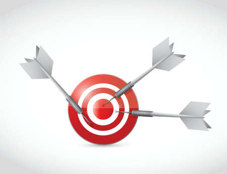 target and multiple darts. illustration design over a white background Vector