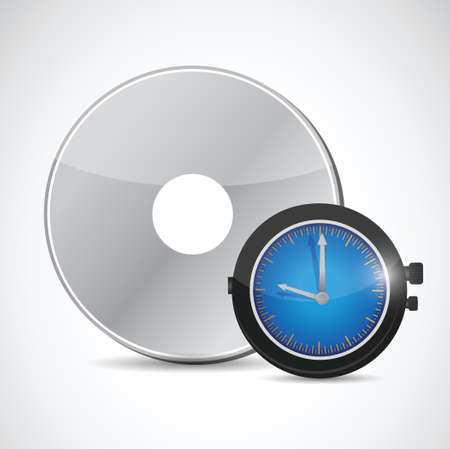 cd and watch illustration design over a white background