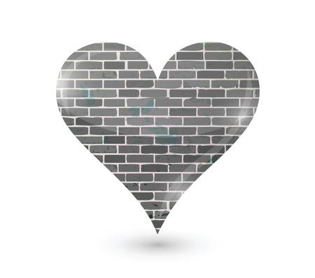 brick wall heart illustration design over a white background