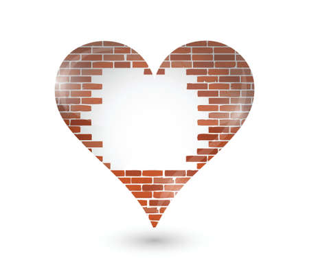 brick wall hole on a heart. illustration design over a white background Illusztráció