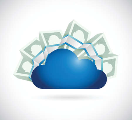 money around a storage cloud. illustration design over a white background Vector