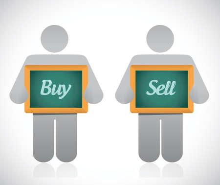 hesitation: buy or sell messages. illustration design over a white background Illustration