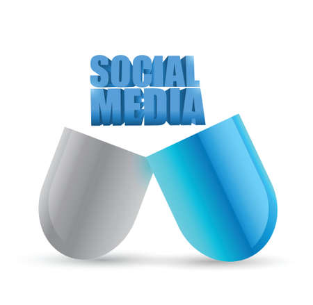 social media pill illustration design over a white background