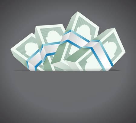 money inside a pocket. illustration design over a grey background