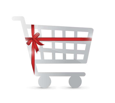 shopping cart and gift warped illustration design over a white background Çizim