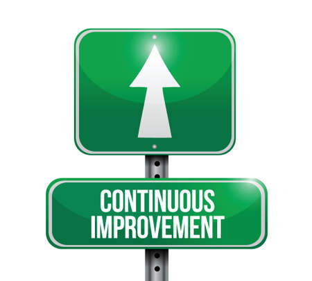 design process: continuous improvement sign illustration design over a white background
