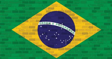 brick and mortar: brazil flag illustration design graphic over a brick wall background Illustration