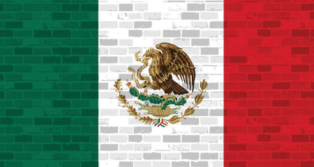 mexican flag illustration design graphic over a brick wall background