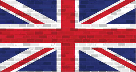 uk flag illustration design graphic over a brick wall background Vectores