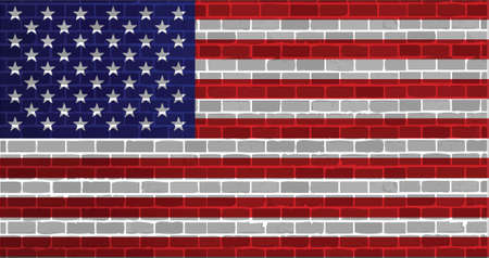usa flag illustration design graphic over a brick wall background Vector
