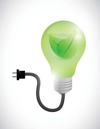 green leave eco light bulb illustration design over a white background