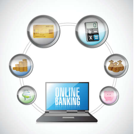 mobile banking: online banking concept illustration design over a white background