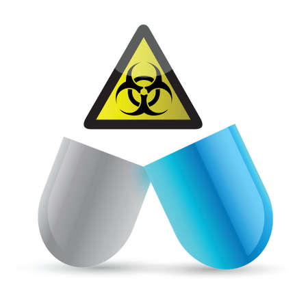 side effect: pill and biohazard symbol illustration design over a white background