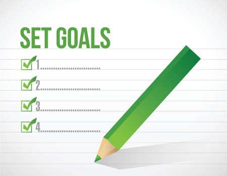 set goals check mark illustration design over a white background Stock Vector - 26136371