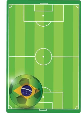Feld und Brasilien Fußball, Illustration, Design Grafik Standard-Bild - 26136384