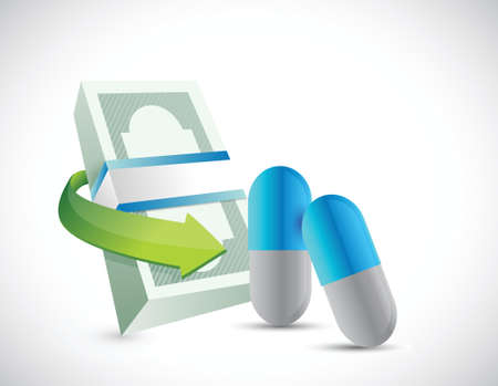 bills and pills. health prices box and shipping illustration design over a white background