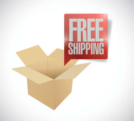 packer: box and free shipping speech bubble illustration design over a white background Illustration