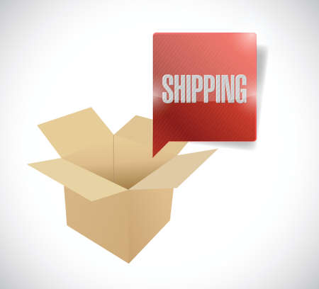 shipped: box and shipping speech bubble illustration design over a white background