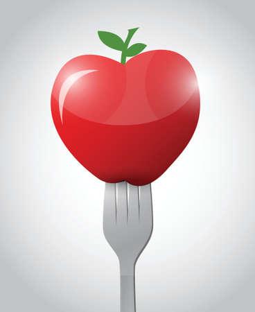 fork and apple illustration design over a white background