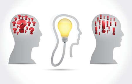 흰색 배경 위에 머리 아이디어 개념 그림 디자인 일러스트