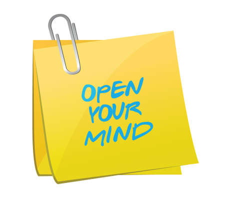 open your mind post message illustration design over a white background