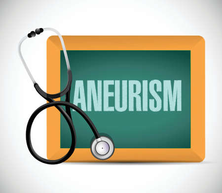 aneurysm: aneurism word written on a chalkboard. illustration design over a white background