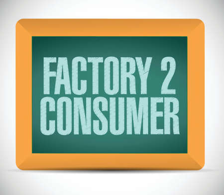 b2e: factory to customers written on a chalkboard. illustration design over a white background