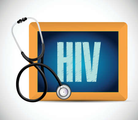 immunodeficiency: stethoscope hiv written on a chalkboard. illustration design over a white background